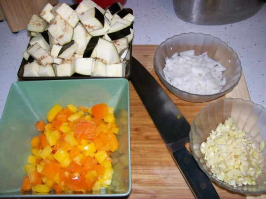 Chopped and diced vegetables