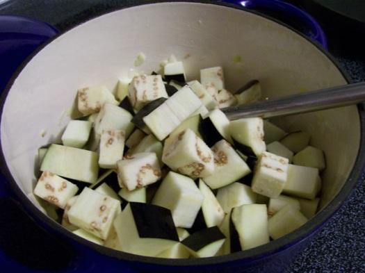 Eggplant in cast iron enamel pot