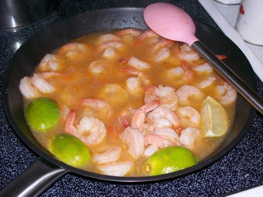 Simmering the shrimp