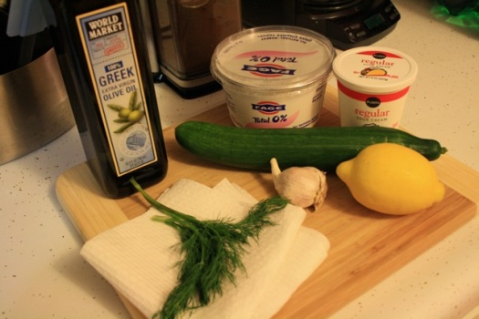 Ingredients for the tzatziki sauce