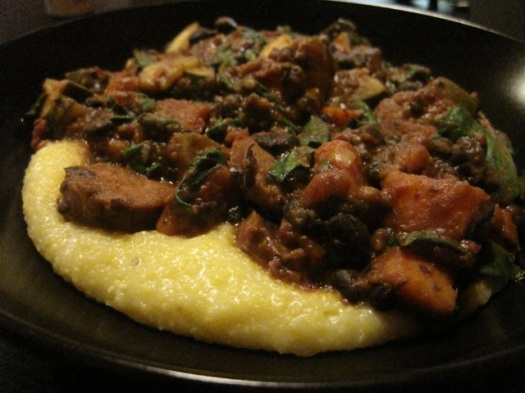 Cheesy Polenta with black beans and sweet potato
