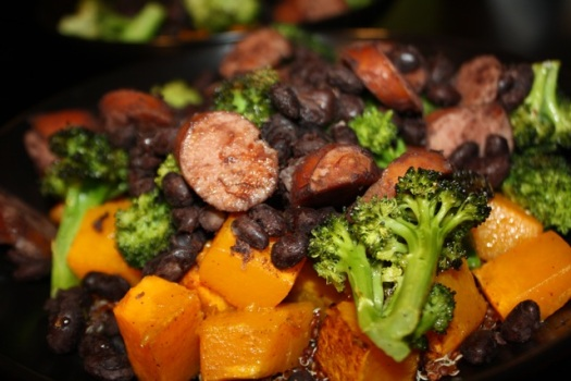 A bowl full of good-for-you with black beans and turkey sausage