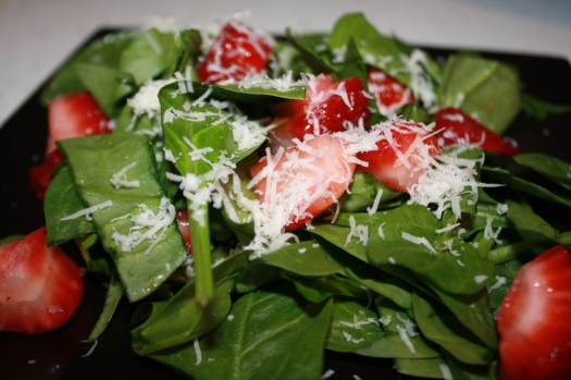 Spinach-Strawberry-Parmesan Salad