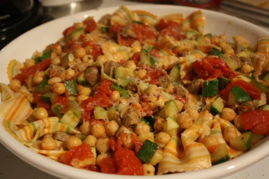 Rainbow Farfalle with Zucchini, Tomatoes, Chickpeas, and Sausage