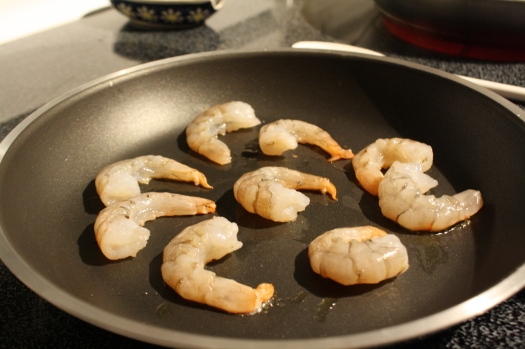 Saute shrimp in a small amount of olive oil