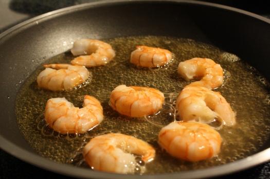 Simmer the shrimp in beer