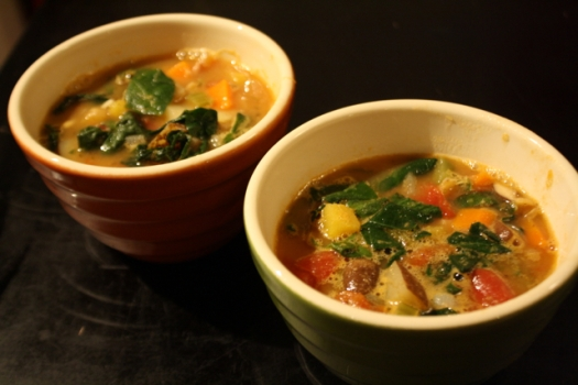 Bowls of fall vegetable soup