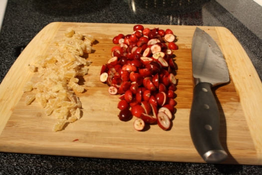 Chopped ginger and cranberries