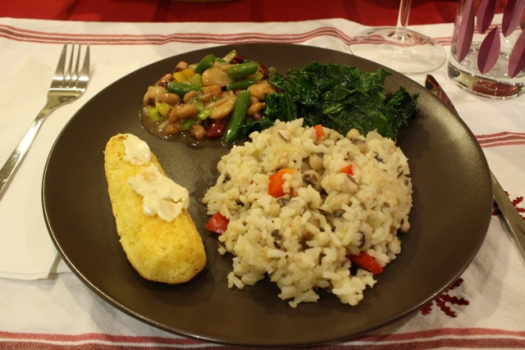 Hoppin' John, kale, cornbread, and bean salad