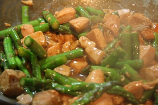 Stir fry salmon and asparagus