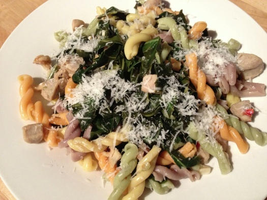 Collard Greens with Gemelli and Chicken Sausage