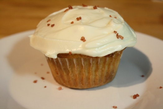 White Chocolate Margarita Cupcake garnished with red salt