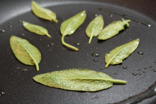 Sage leaves in a pan