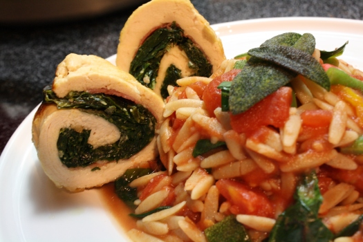 Chicken Saltimboccollards with Orzo