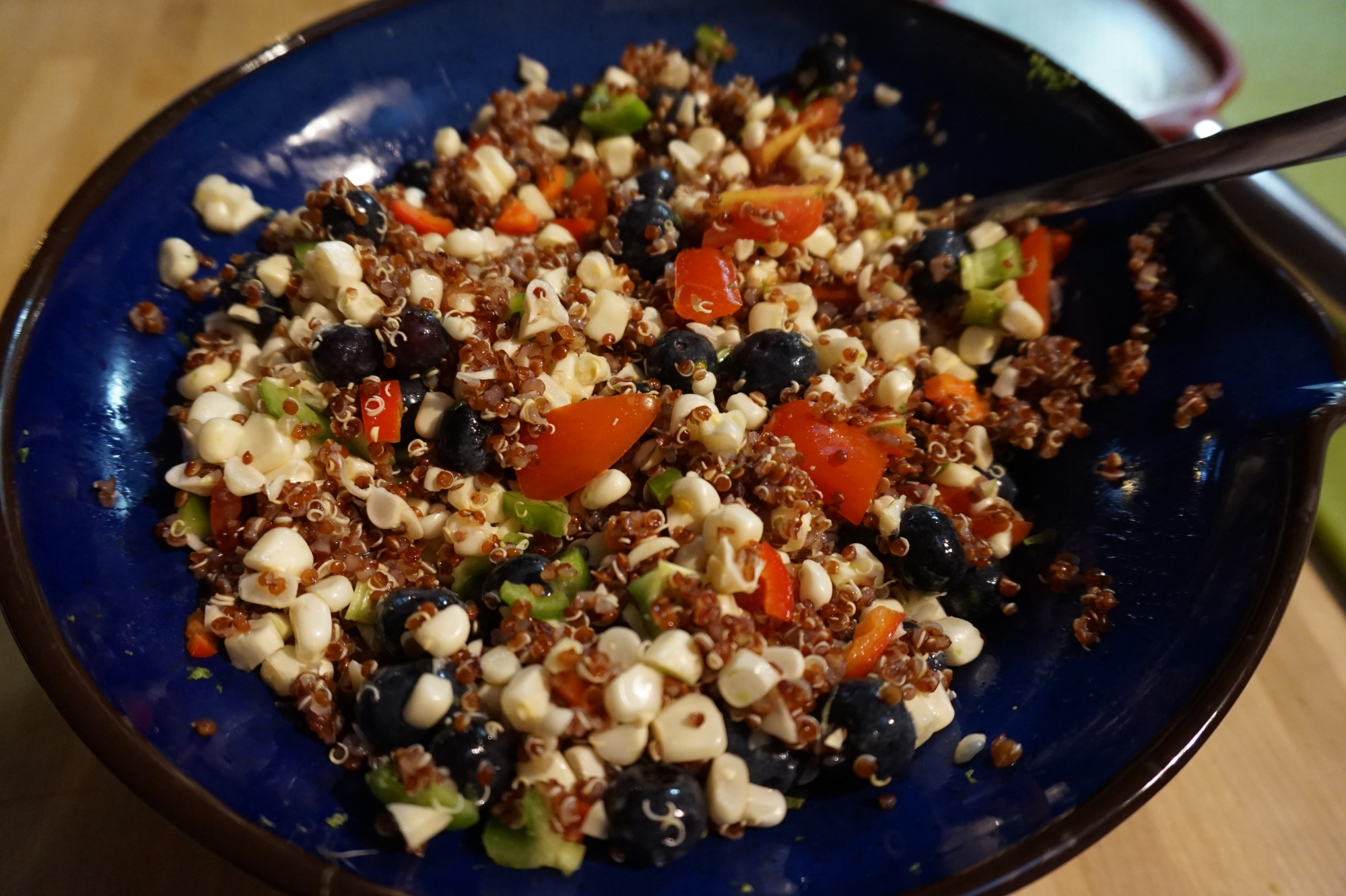 Blueberries, corn, peppers, tomato