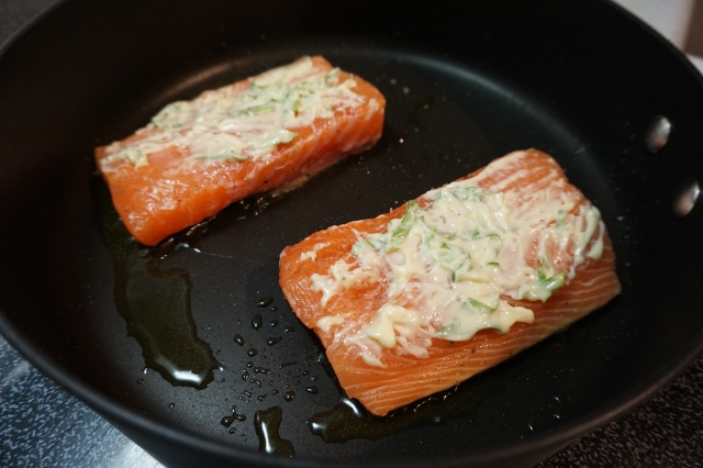 Salmon with compound butter