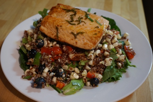 Summer salad with salmon