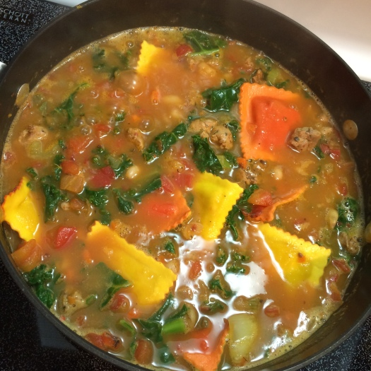 Prepared Honey Roasted Pumpkin Ravioli makes this soup a quick dinner to cook