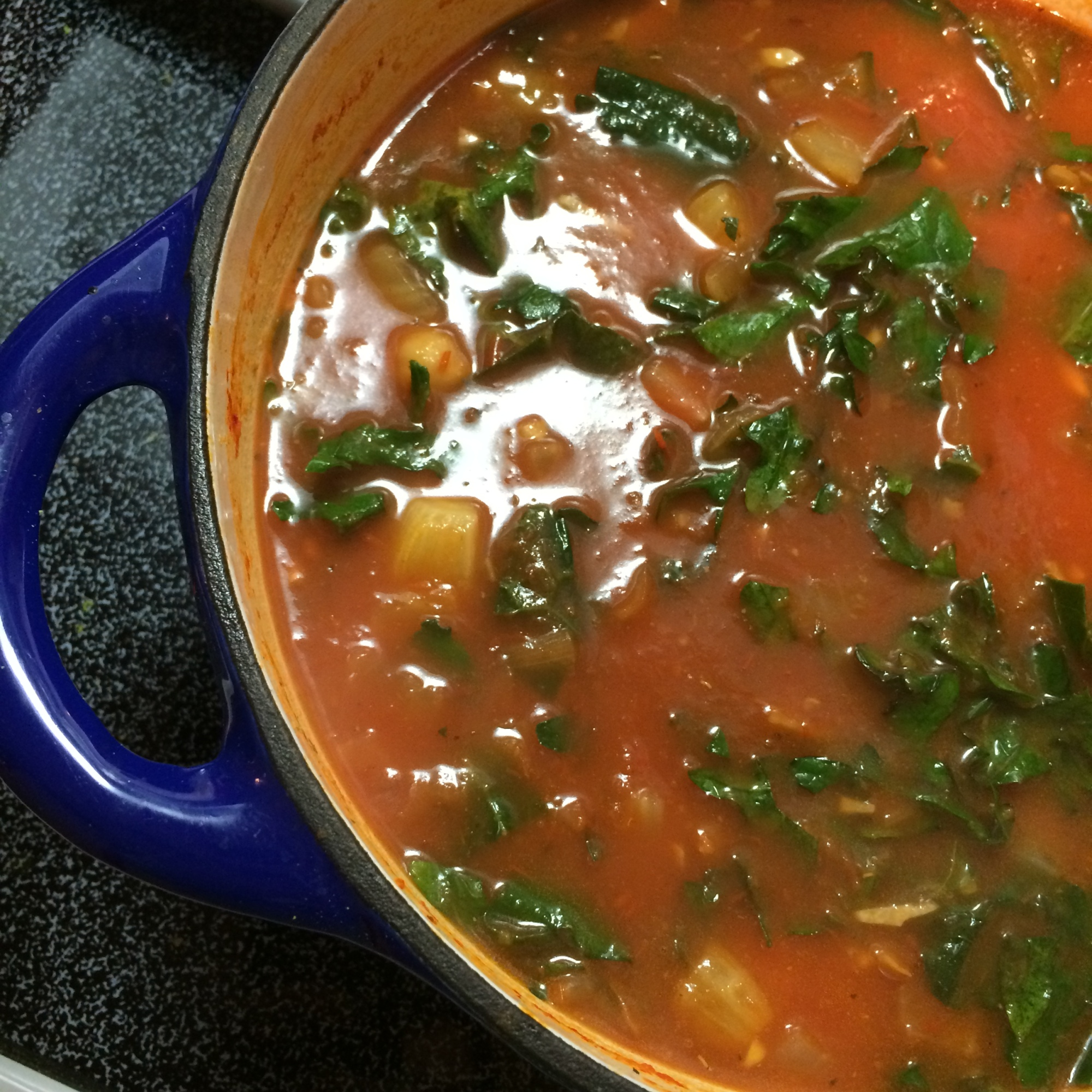 Tomato soup with roasted fennel and chickpeas