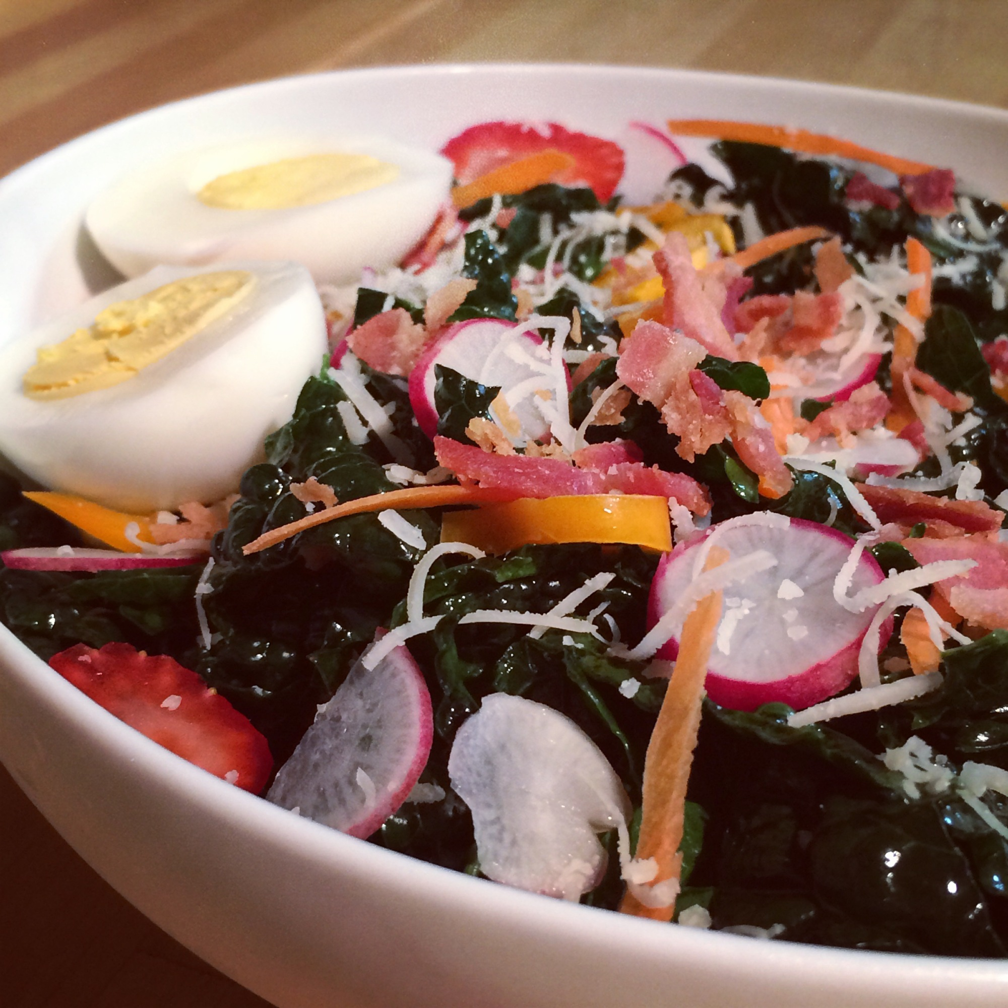 Kale salad with hard-boiled eggs